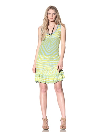 Gregory Parkinson Women's Knit Dress with Ruffle Hem (Aqua/Zebra)
