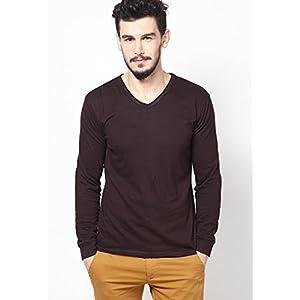 Solid Brown Full-sleeve V-neck T-Shirt
