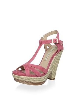 Pura López Women's T-Strap Wedge Heel (Ante Coral)