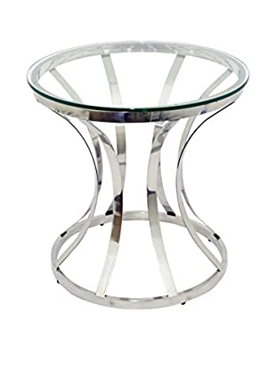 Three Hands Industrial Metal Glass End Table, Silver