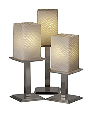 Justice Design Group Fusion 3-Light Montana Textured Table Lamp, Brushed Nickel