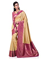 meghdoot Women's Silk & Crush Saree (VINDHYA_2479_TASSARxRANI_Beige and Rani)