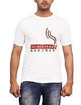THESMO Unisex Round Neck T-Shirt, White, XXL