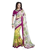 DivyaEmporio Women's Saree/Sari with Unstitched Blouse (Free Size)