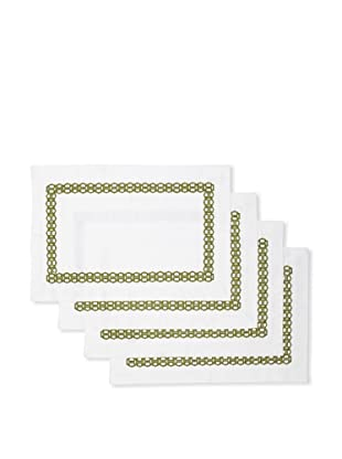 Trina Turk Set of 4 Ogee Embroidered Placemats (Green)