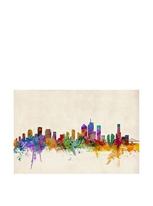 Trademark Fine Art Brisbane Watercolor Skyline by Michael Tompsett