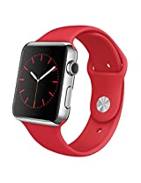 Apple Watch 42mm Stainless Steel Case with RED Sport Band MLLE2