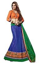Vibes Women's Net Straight Fit Unstitched Lehenga Choli (L1-8009_Blue)
