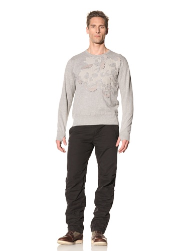 Maharishi Men's Skull Appliqué Crewneck Sweater (Light Grey)