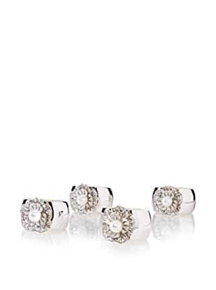 Isabella Adams Set of 4 Single Pearl Napkin Rings with Swarovski Crystals, Silver