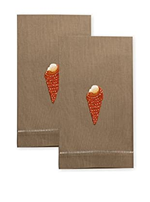 Henry Handwork Set of 2 Red Cone Shell Embroidered Hand Towels, Khaki