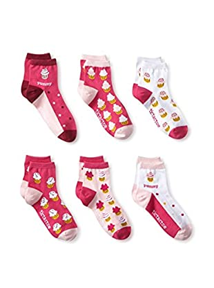 Tic Tac Toes Kid's 6-Pack Girls Combed Cotton Qtr (Multi)
