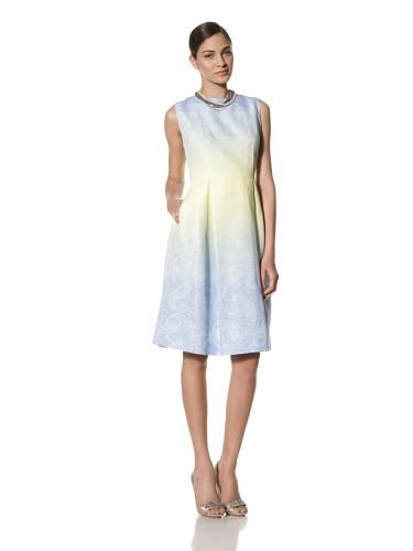 Jonathan Saunders Women's Bodine Paisley Print Dress with Inverted Pleats (Blue/Lemon)