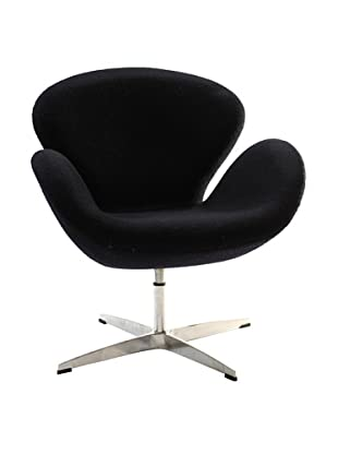 Manhattan Living Fabric Swan Chair, Black