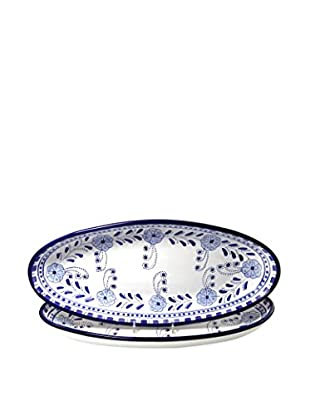 Le Souk Ceramique Azoura Set of 2 Large Oval Platters, Blue/White