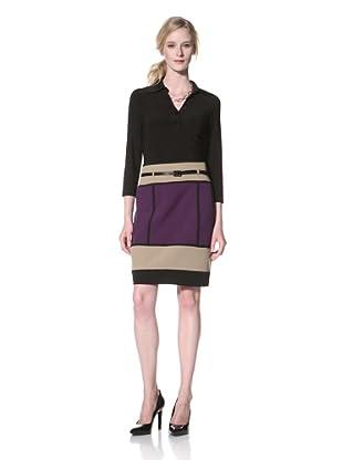 Chetta B Women's Long Sleeve Colorblock Dress (Amethyst/Multi)