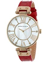 Anne Klein Women's AK/1396MPRD Gold-Tone Mother-Of-Pearl Dial Red Leather Croco-Grain Strap Watch