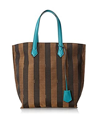 FENDI Women's Jacquard Zucca Large Tote, Brown/Blue