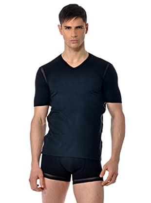 John Galliano Camiseta Manga Corta Cuello V (Negro)