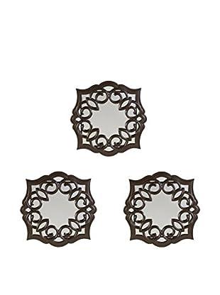 Bombay Company Set of 3 Swirl Wall Mirrors, Bronze