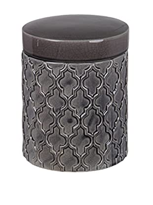 Privilege Medium Ceramic Jar with Lid, Dark Grey