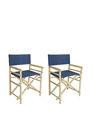ZEW, Inc. Set of 2 Bamboo Director Chairs, Indigo