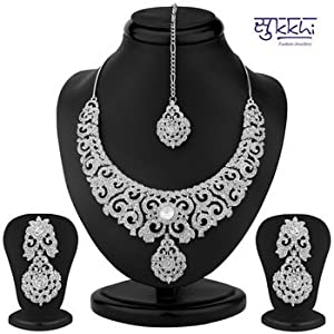 Sukkhi Ravishing Rhodium Plated Australian Diamond Necklace Set For Women