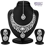 Sukkhi Ravishing Rhodium Plated Australian Diamond Necklace Set For Women