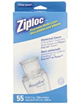The First Years 55 Pack Ziploc Brand Disposable Bottle Liners, 8 Ounce (Discontinued by Manufacturer)