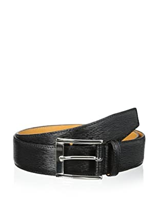 Leone Braconi Men's Minipaglia Embossed Calfskin Belt (Black)