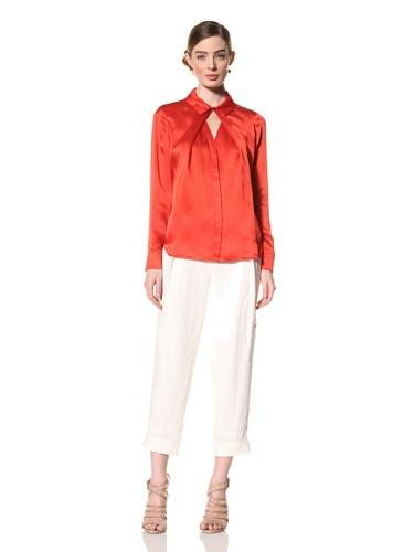 Magaschoni Women's Long Sleeve Shirt (Blood Orange)