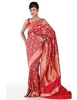 Chhabra555 Red Silk Banarasi Saree