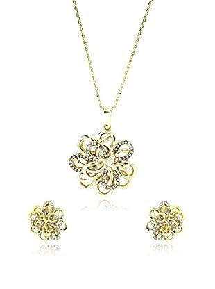 Art de France Conjunto de cordón y pendientes Flower metal bañado en oro 24 ct