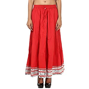 Rajrang Partywear Cotton Lace Work Women's Wear Red Long Skirt