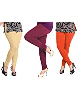 Lux Womens Combo Of Cotton Leggings (Set Of Three) - L- 18-61-17