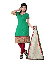 FadAttire Embroidered Chandheri Suit-Green-ACSA02
