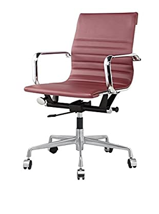 Meelano Office Chair In Faux Leather, Marsala