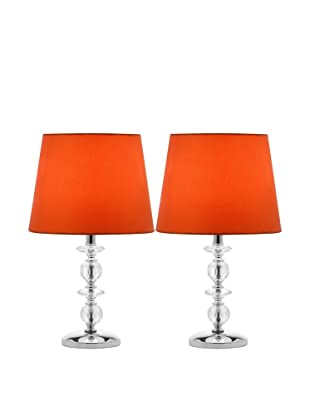 Safavieh Set of 2 Derry Stacked Crystal Orb Lamps, Chrome/Orange