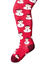 Country Kids Baby Girls' Snowman Tights, Berry, 12 24 Months