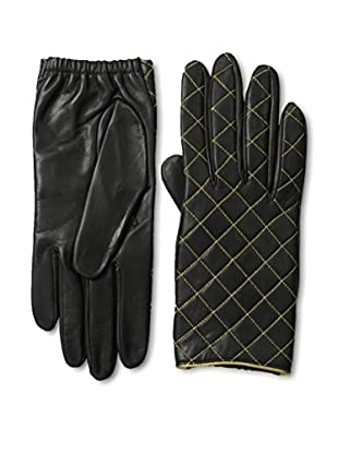 Portolano Women's Metallic Quilted Leather Gloves with Silk Lining (Graffiti/Gold)