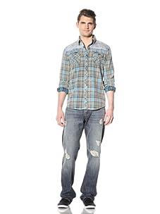 Artisan de Luxe Men's Oklahoma Button-Up Shirt (Tulsa Blue Plaid)