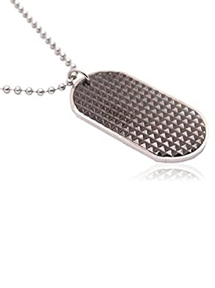 Blackjack Jewelry Halskette Textured Dog Tag Pendant With 24