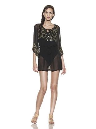 TIKKA Women's Sheer Embellished Drawstring Tunic (Black/Gold)