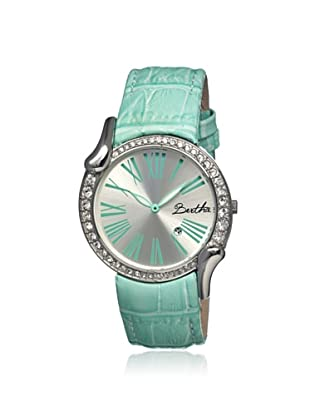Bertha Women's BR2504 Olive Turquoise/Silver Leather Watch