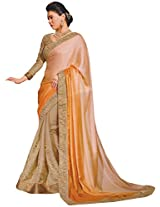 Ambica elegance speaks Women's Marble Saree (Ambica 3602_1, Light Orange, Golden Colour)