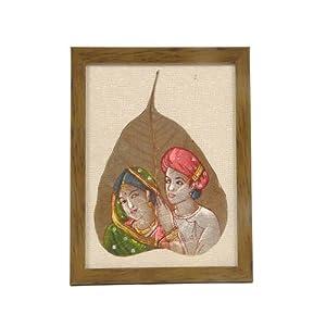 Creative Box Leaf Painting - Rural Couple On Jute Fabric