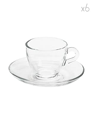 Pasabahce Set 6 Tazze Caffè con Piattino Trasparente