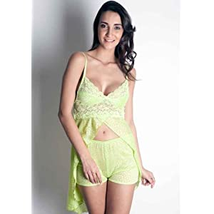 Beautiful Lemon Yellow Lacy Nightwear