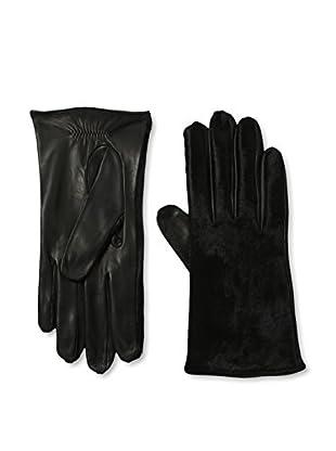 Portolano Women's Silk-Lined Leather Glove with Haircalf Top (Black/Black Haircalf)