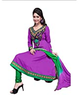 Khushali Women's Semi-Cotton Unstitched Anarkali Salwar Suit Dress Material(purple,green)